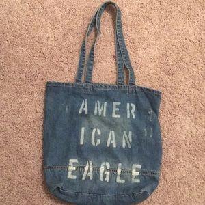 denim american eagle tote bag